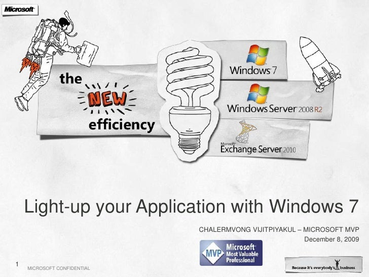 Light-up your Application with Windows 7<br />Chalermvong vIjitpiyakul – Microsoft MVP<br />December 8, 2009<br />1<br />