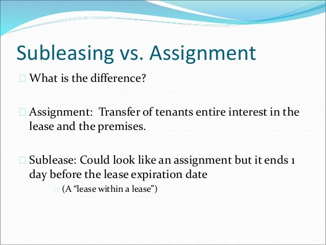 Commercial lease assignment