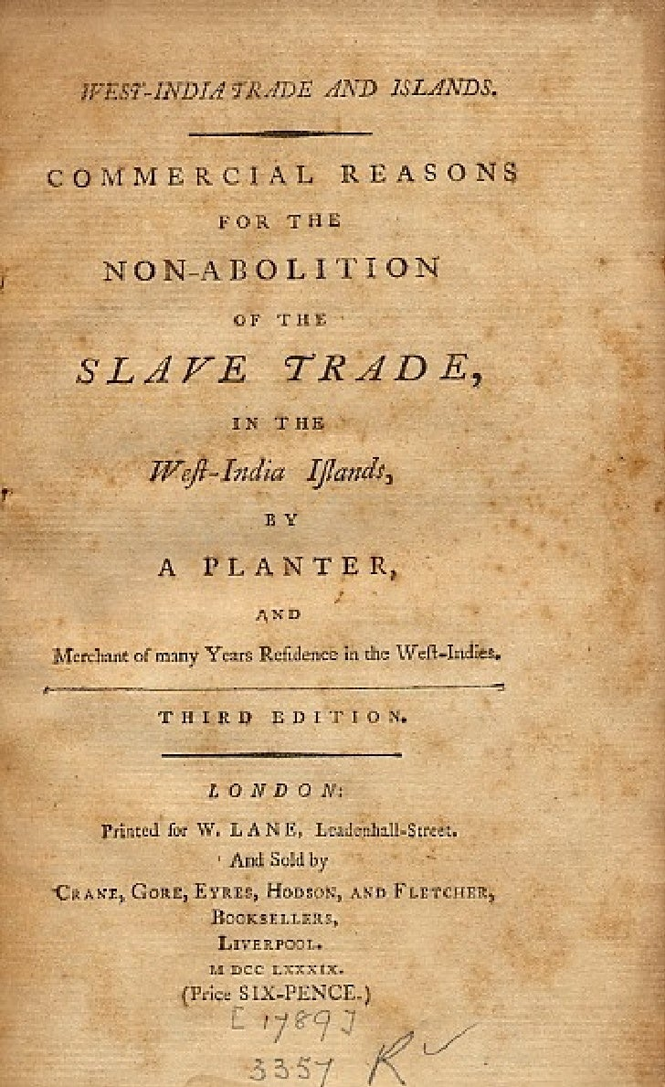 Commercial Reasons For The Nonabolition Of The Slave Trade