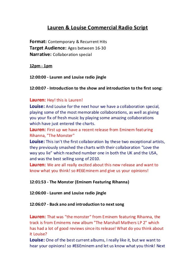 Lauren & Louise Commercial Radio Script Format: Contemporary & Recurrent Hits Target Audience: Ages between 16-30 Narrativ...