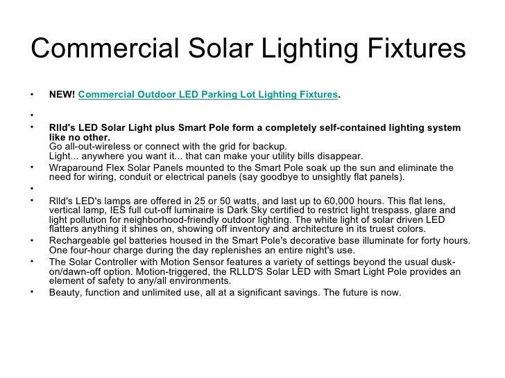 Commercial solar lighting fixtures