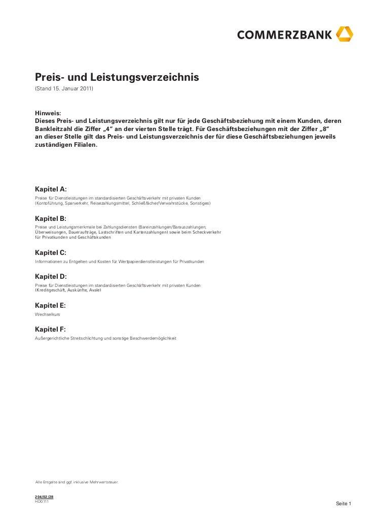 Preis- und Leistungsverzeichnis(Stand 15. Januar 2011)Hinweis:Dieses Preis- und Leistungsverzeichnis gilt nur für jede Ges...