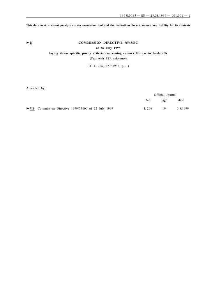1995L0045 — EN — 25.08.1999 — 001.001 — 1This document is meant purely as a documentation tool and the institutions do not...