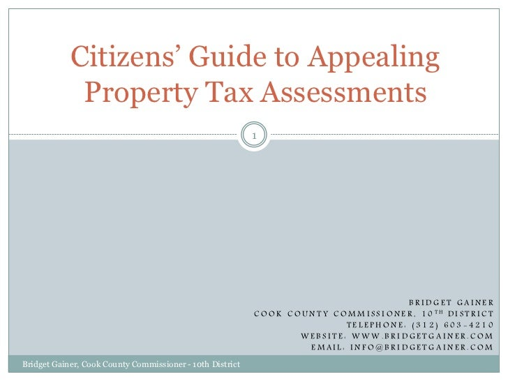 Cook County Commissioner Bridget Gainer - 10th District: Citizens' Guide to Appealing Property Tax Assessments