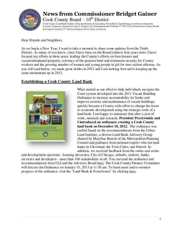 News from Commissioner Bridget Gainer               Cook County Board – 10th District               Cook County Land Bank ...