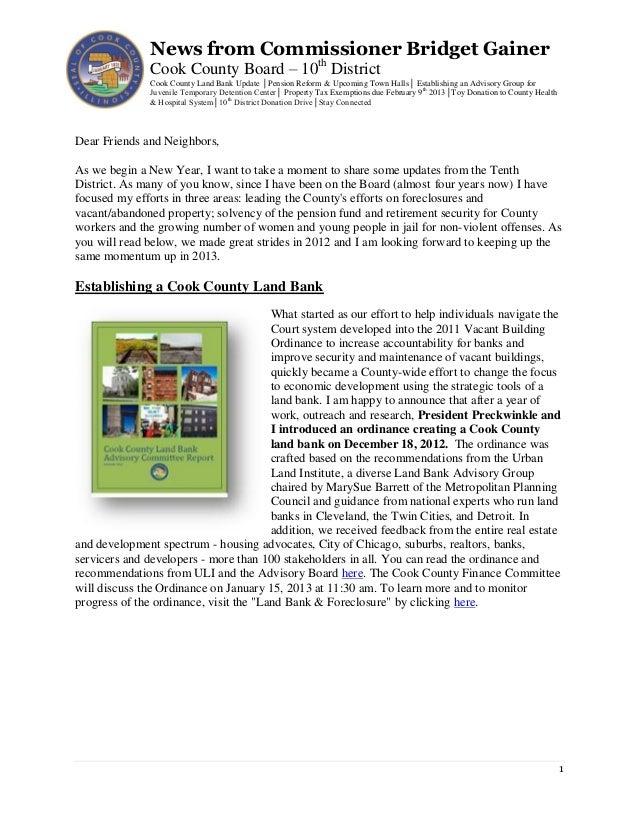 Commissioner Bridget Gainer - January 8 2013 newsletter
