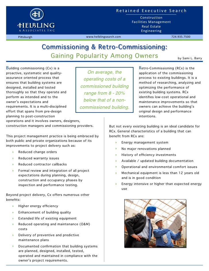 Building Commissioning and Retro-Commissioning