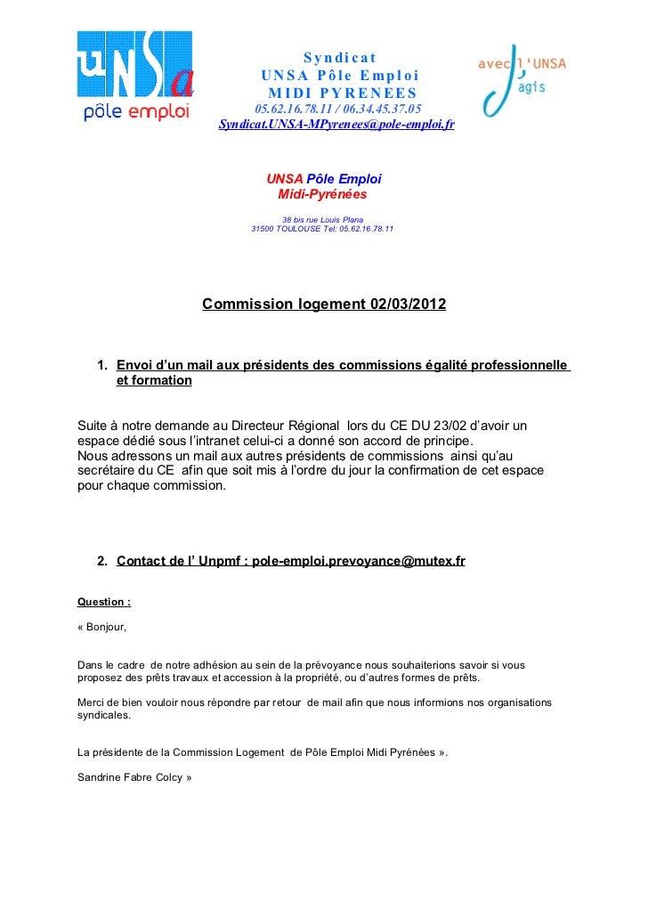 Syndicat                                     UNSA Pôle Emploi                                      MIDI PYRENEES          ...