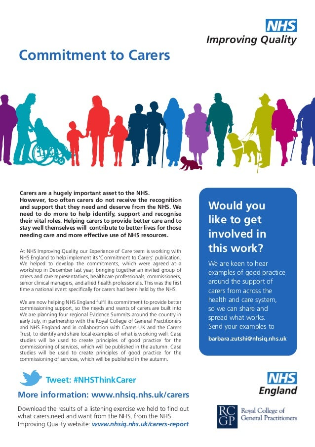 At NHS Improving Quality, our Experience of Care team is working with NHS England to help implement its 'Commitment to Car...