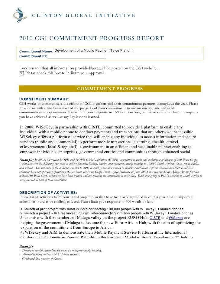 WISekey Global Clinton Initiative Commitment Status Report
