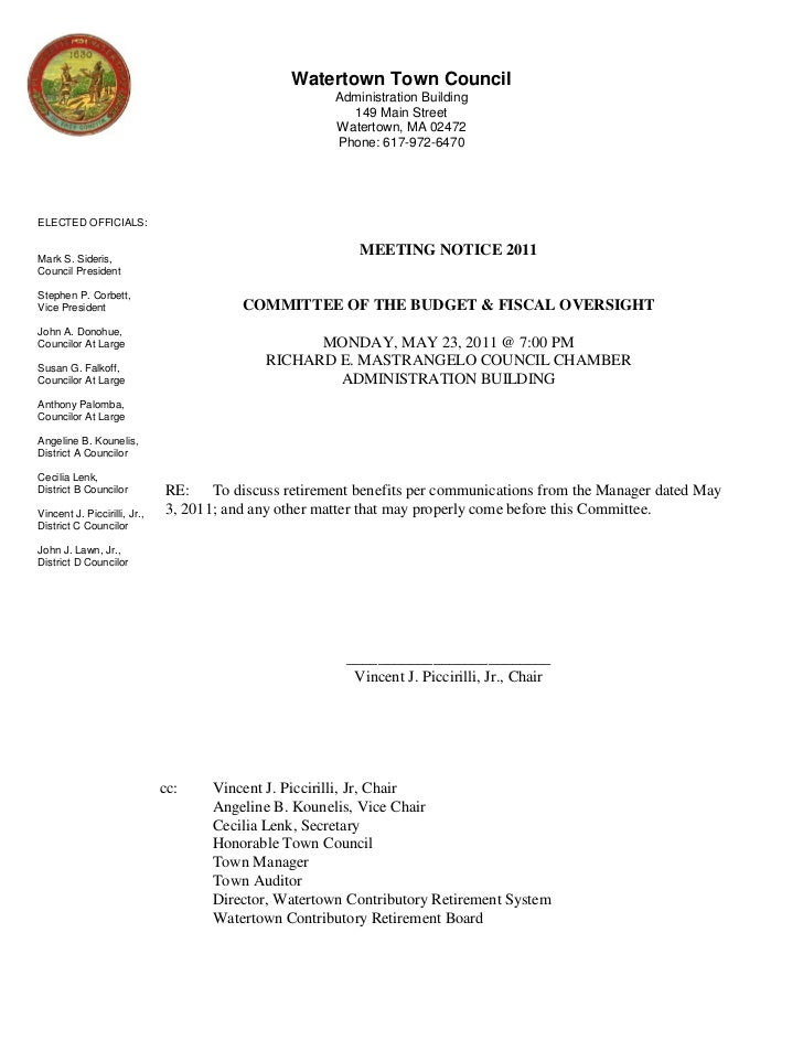 Watertown, MA Committee Budget & Fiscal Oversight May 23, 2011