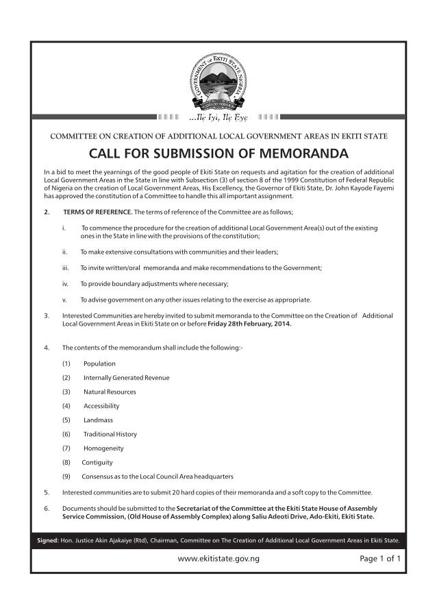 CALL FOR SUBMISSION OF MEMORANDA