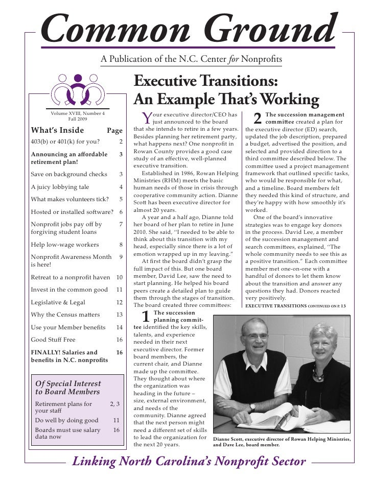 Common Ground             A Publication of the N.C. Center for Nonprofits                                         executiv...