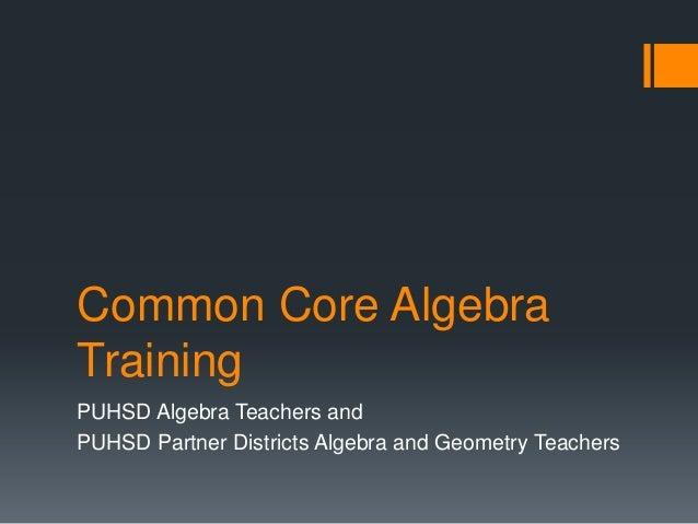 Common Core AlgebraTrainingPUHSD Algebra Teachers andPUHSD Partner Districts Algebra and Geometry Teachers
