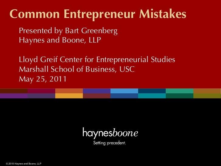 Common Entrepreneur Mistakes