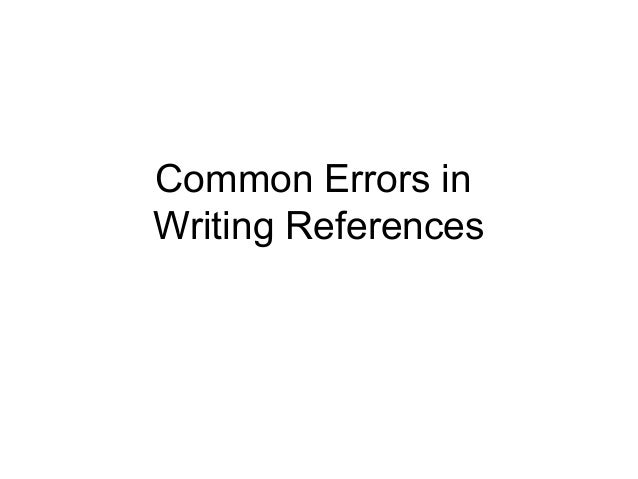 Common Errors in Writing References