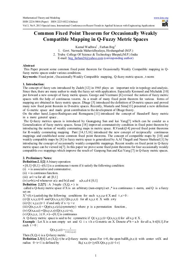 Mathematical Theory and Modeling www.iiste.org ISSN 2224-5804 (Paper) ISSN 2225-0522 (Online) Vol.3, No.9, 2013-Special is...