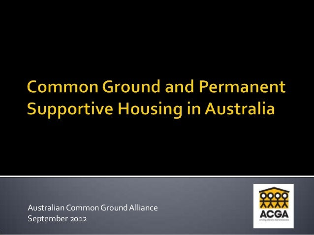Australian Common Ground AllianceSeptember 2012