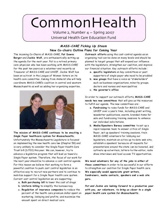 CommonHealth Newsletter - Spring 2007