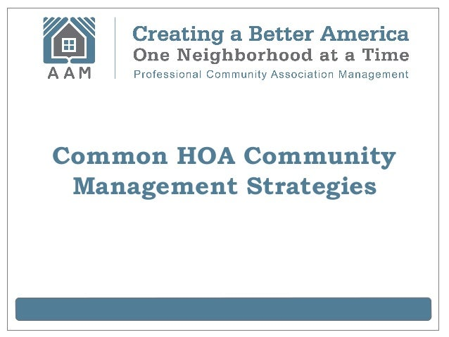 Common HOA Community Management Strategies
