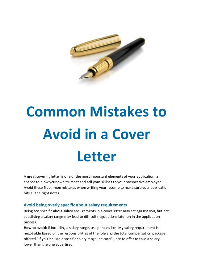 Common mistakes to avoid in a cover letter