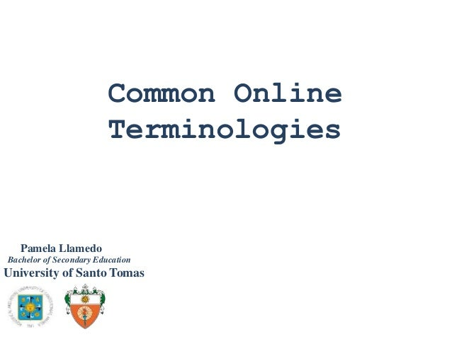 Common Online Terminologies  Pamela Llamedo Bachelor of Secondary Education  University of Santo Tomas