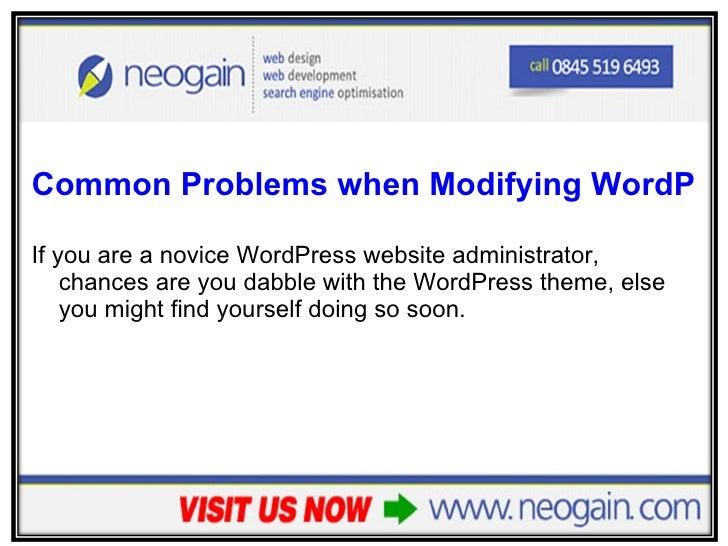 <ul><li>Common Problems when Modifying WordPress Themes FAQ – part 1 </li></ul><ul><li>If you are a novice WordPress websi...
