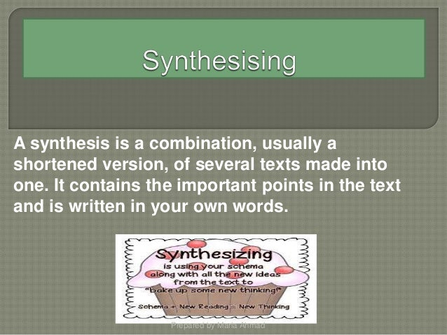synthesising list Browse over 80 educational resources created by stephanie allison in the official teachers pay teachers store a student task to promote synthesising while.