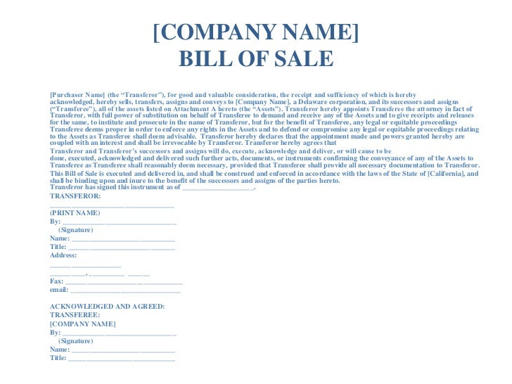 bill of sale and assignment