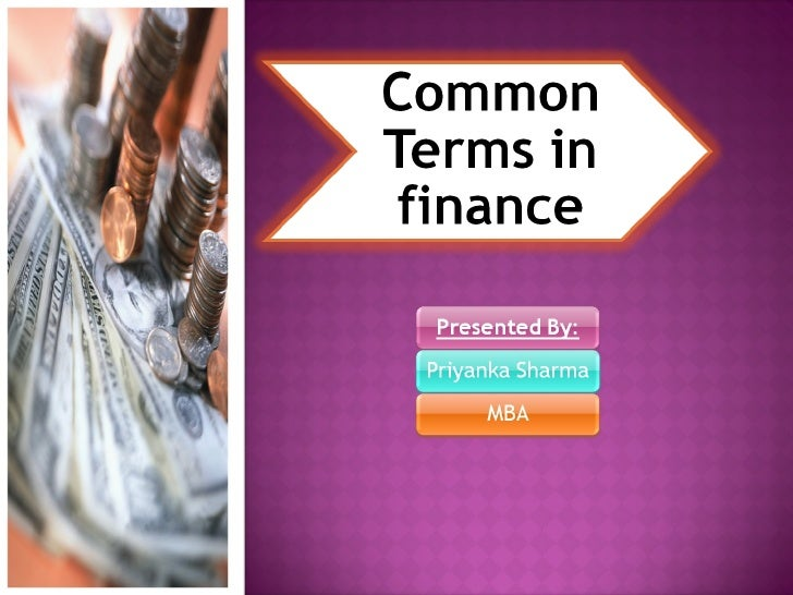 Common Terms In Finance