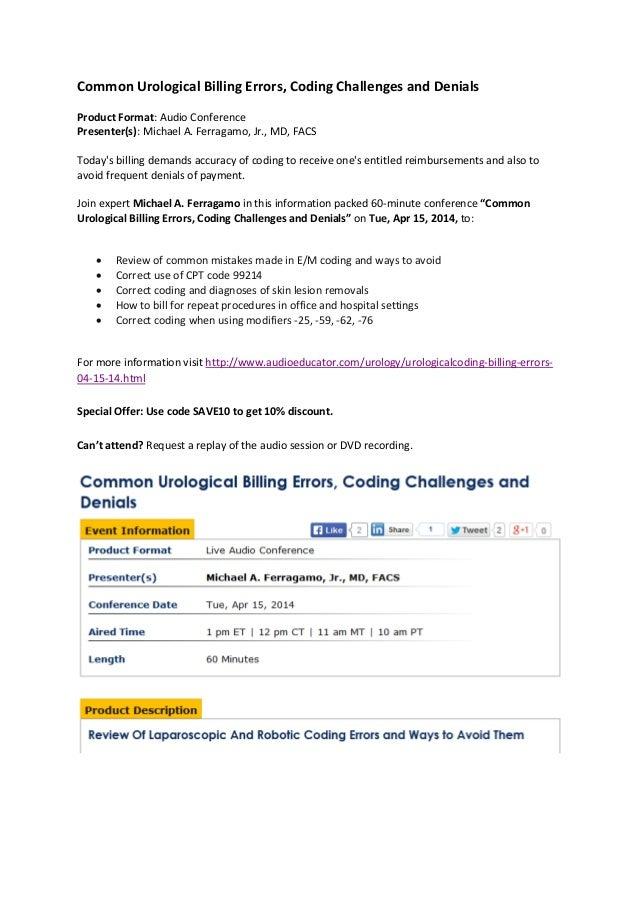 Urological Coding Billing Errors, Challenges and Denials