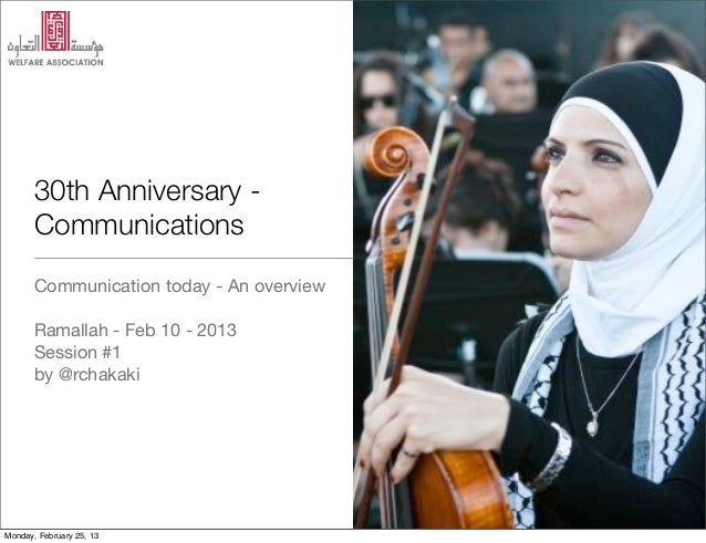 30th Anniversary -       Communications       Communication today - An overview       Ramallah - Feb 10 - 2013       Sessi...