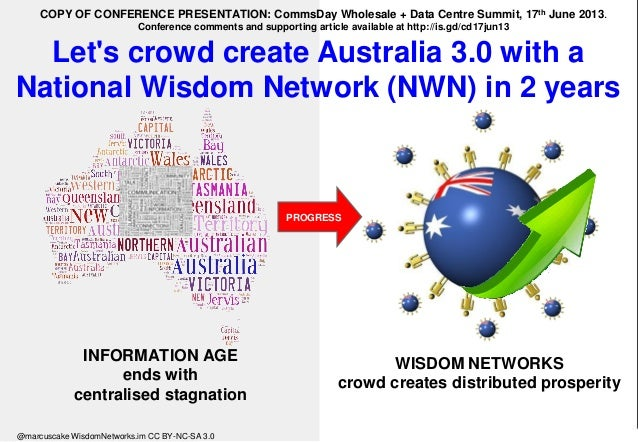 Let's crowd create Australia 3.0 with a National Wisdom Network (NWN) in 2 years WISDOM NETWORKS crowd creates distributed...