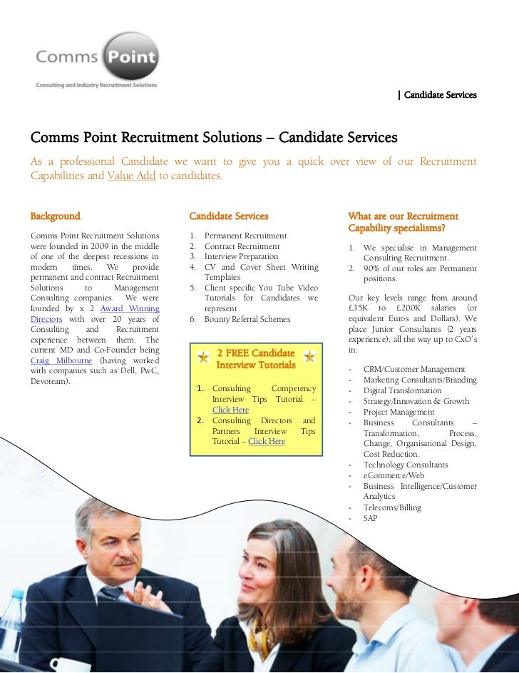 Comms Point Recruitment Solutions - Candidate Services - Management Consulting