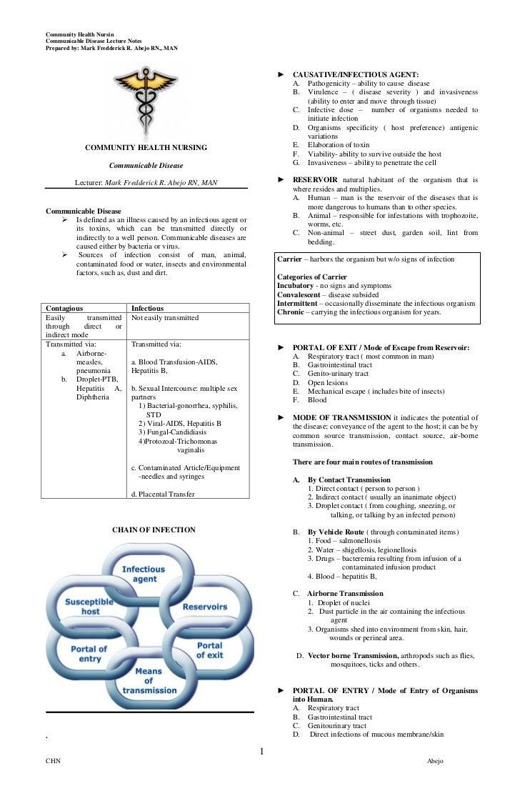 Community Health NursinCommunicable Disease Lecture NotesPrepared by: Mark Fredderick R. Abejo RN,, MAN                   ...