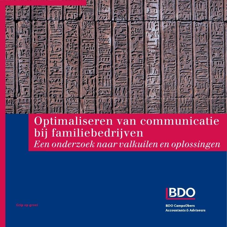 Optimaliseren van communicatie bij familiebedrijven Een onderzoek naar valkuilen en oplossingen