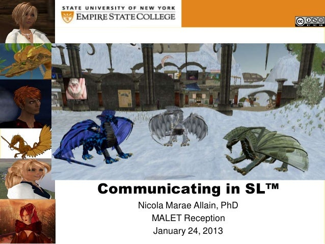 .    Communicating in SL™        Nicola Marae Allain, PhD           MALET Reception           January 24, 2013