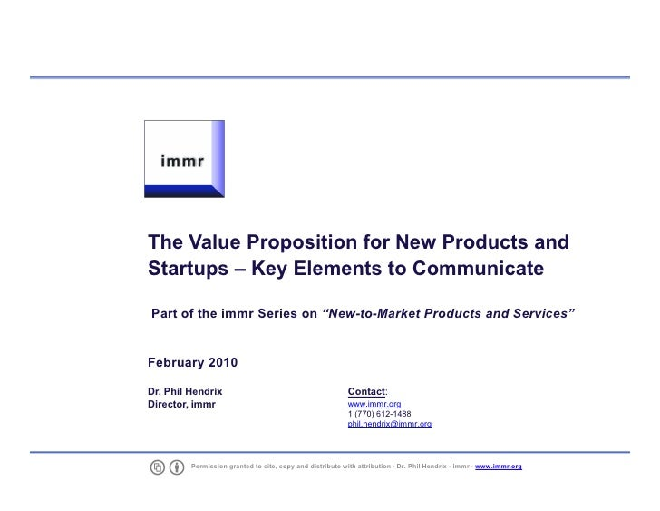 "The Value Proposition for New Products and     Startups – Key Elements to Communicate      Part of the immr Series on ""New..."