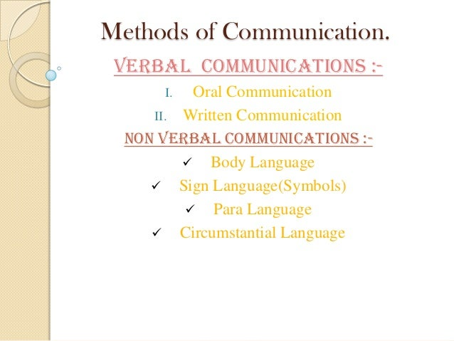Business Communication Methods Methods of Communication