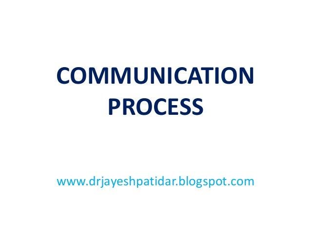 COMMUNICATION PROCESS www.drjayeshpatidar.blogspot.com