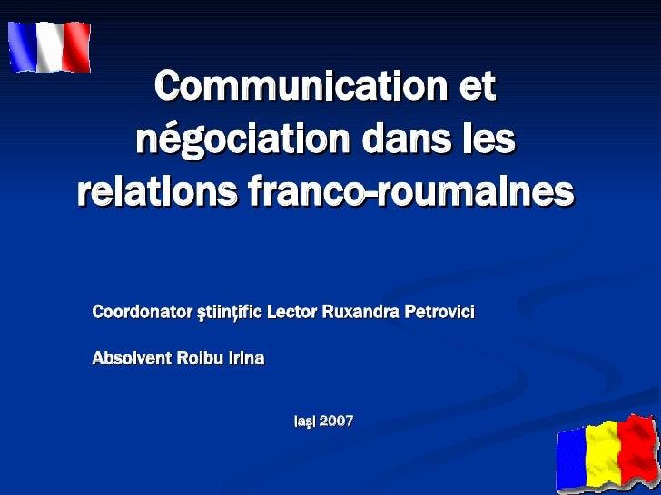 Communication et négociation dans les relations franco-roumaines