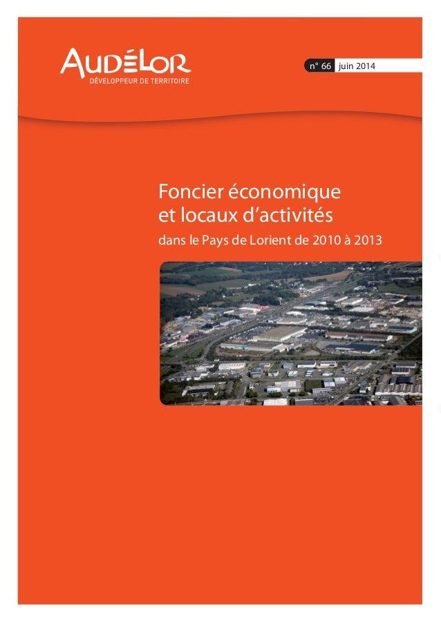 Foncier économique et locaux d'activités dans le Pays de Lorient de 2010 à 2013 n° 66 juin 2014
