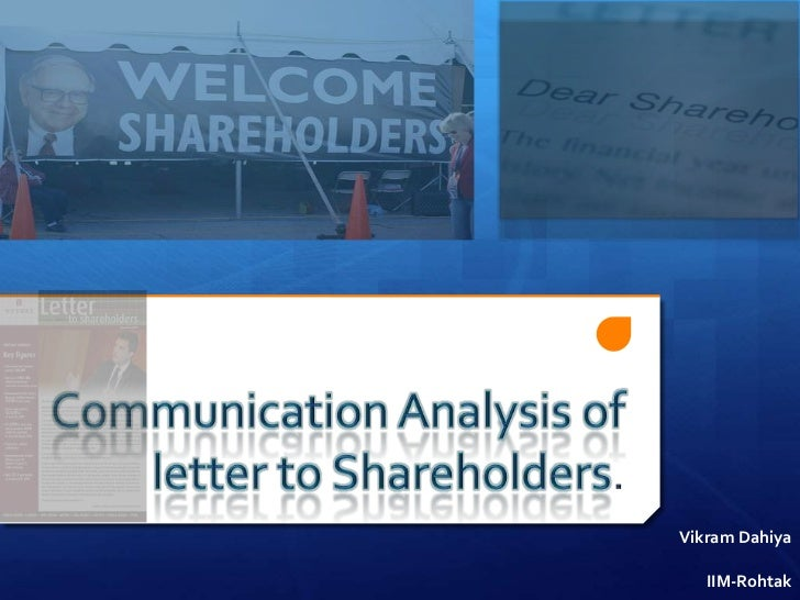 Communication analysis of letter to shareholders.