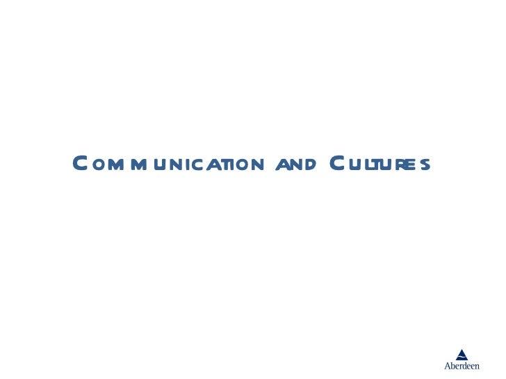 Com m unication and Cultures