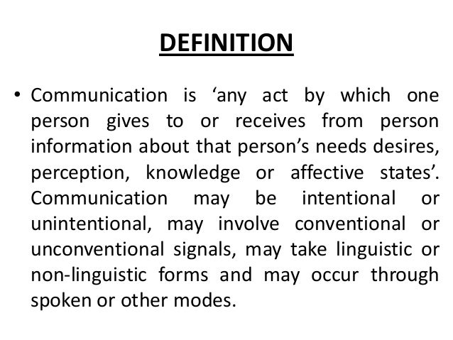 definition of communication essay The key to understanding a communication essay is to understand the definition of communication communication is a two way process between the person sending the message and the person or persons receiving the message it is most effective as an active process on both sides.