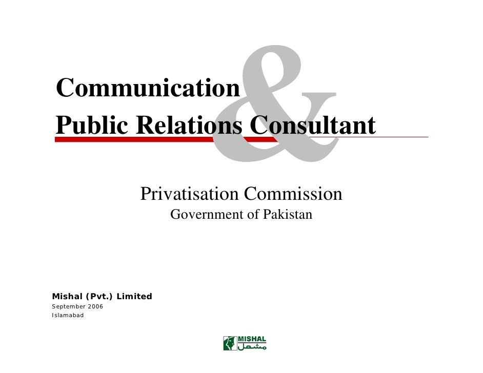 Communication Public Relations Consultant                    Privatisation Commission                         Government o...