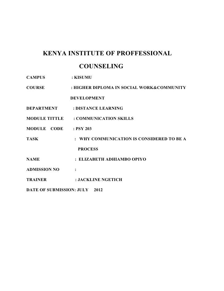 KENYA INSTITUTE OF PROFFESSIONAL                      COUNSELINGCAMPUS           : KISUMUCOURSE           : HIGHER DIPLOMA...