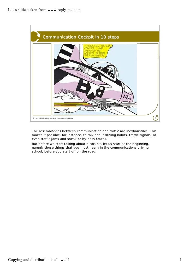 Luc's slides taken from www.reply-mc.com                              Communication Cockpit in 10 steps                   ...