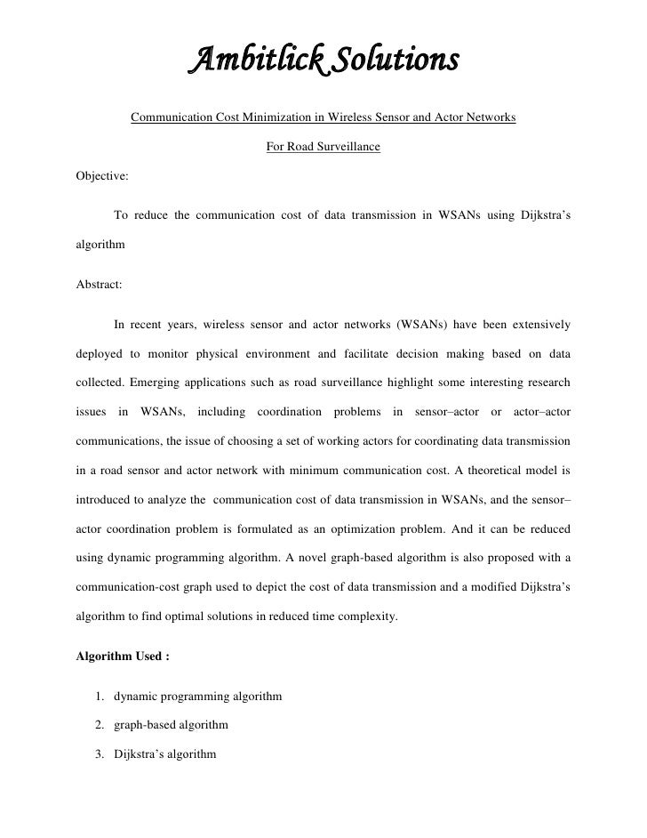 Ambitlick Solutions             Communication Cost Minimization in Wireless Sensor and Actor Networks                     ...
