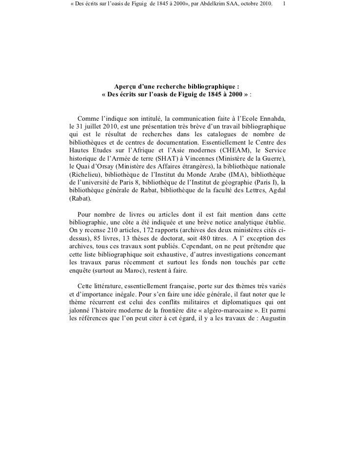 « Des écrits sur l'oasis de Figuig de 1845 à 2000», par Abdelkrim SAA, octobre 2010.   1                 Aperçu d'une rech...